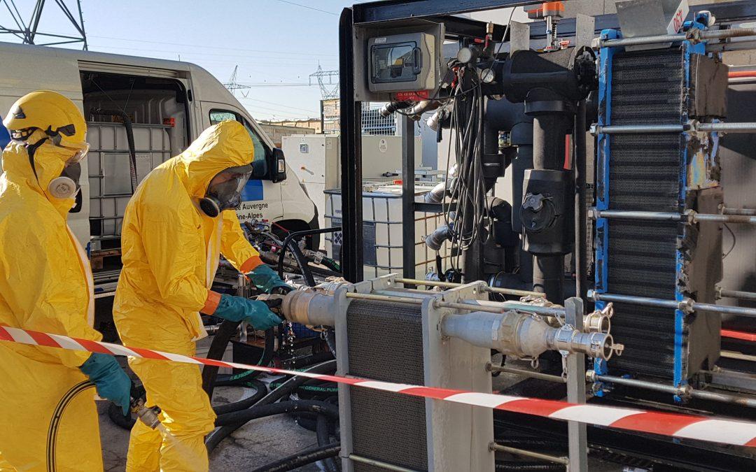 Nettoyage chimique d'un échangeur à plaques